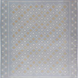 Midcentury Indian Dhurrie Blue, White and Orange Flat-Weave Cotton Rug BB6197