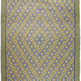 Oversized Indian Dhurrie Cotton Rug in Blue, Purple and Yellow BB6196