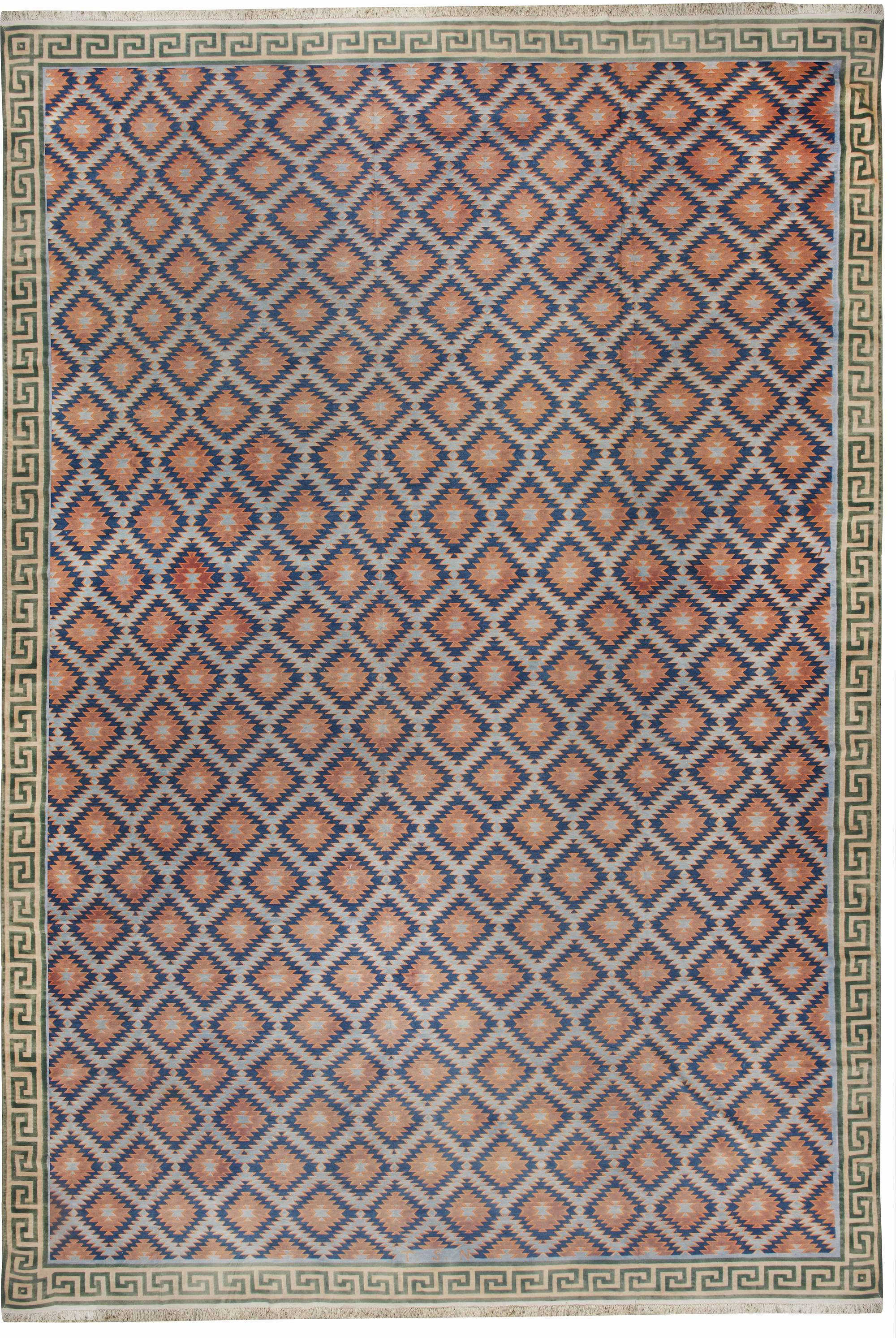 Oversized Vintage Indian Dhurrie Rug BB6192