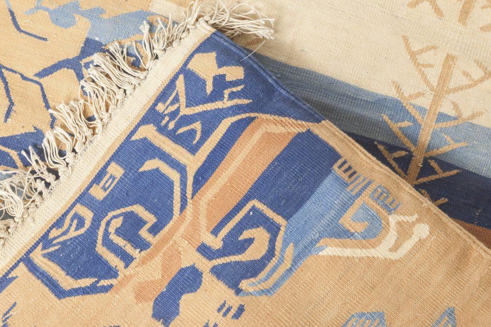 Mid Century Blue, Camel & Beige Indian Dhurrie Rug BB3923