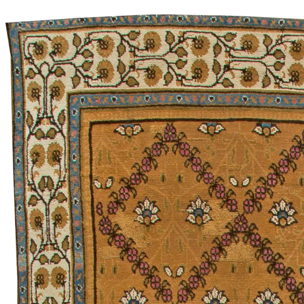 Antique Indian Botanic Sienna and Purple Hand Knotted Wool Rug BB6020