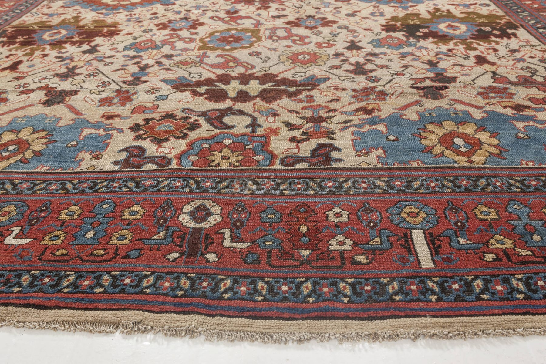 Persian Bakshaish Red, Blue, Brown & Beige Wool Rug (Size Adjusted) BB1107