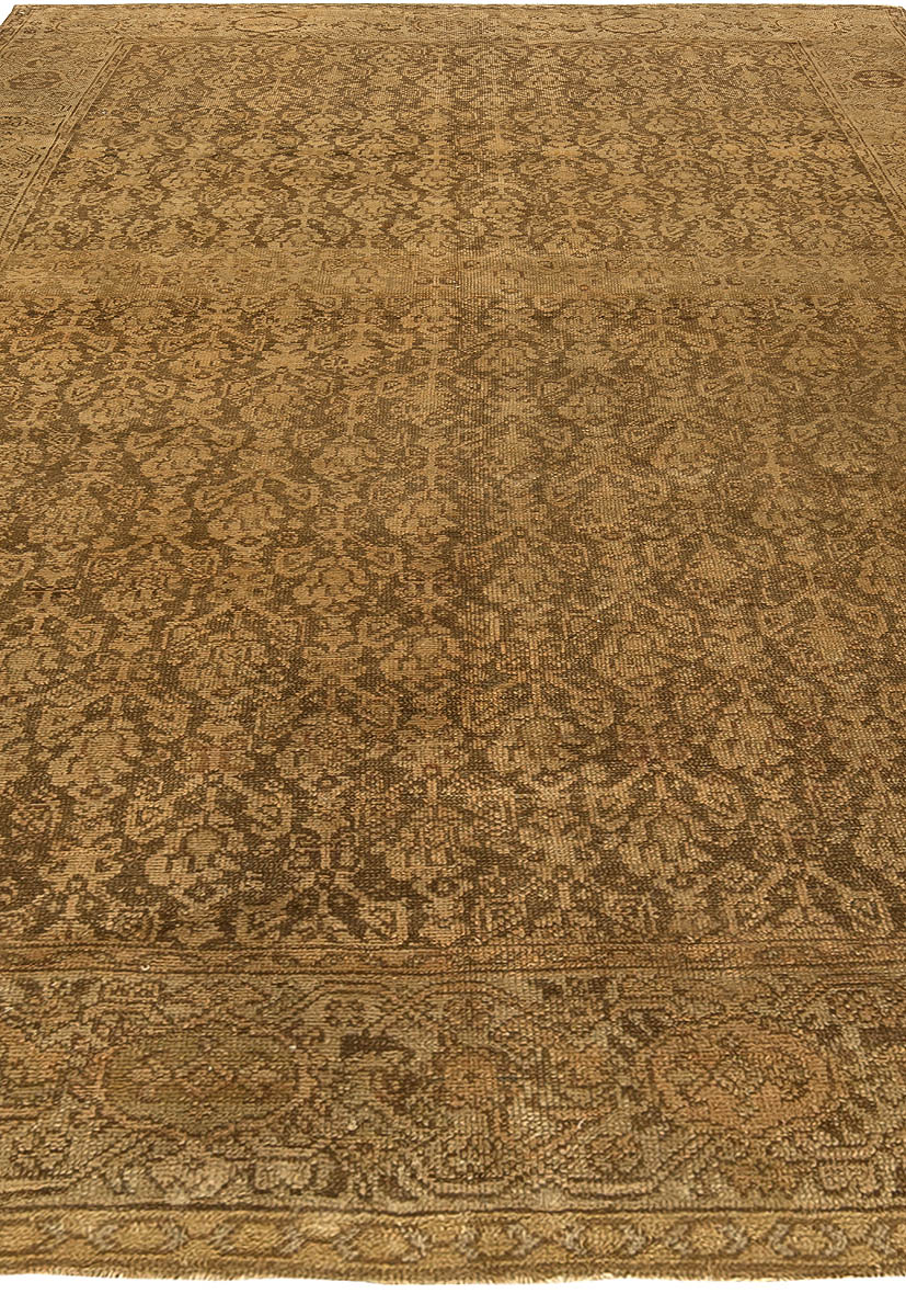 1900s Persian Malayer Floral Design Rug in Brown and Taupe BB5047