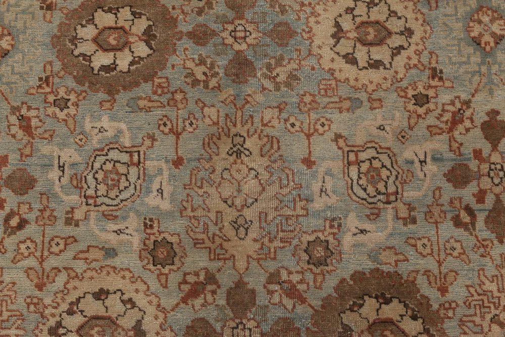 Antique Persian Tabriz Azure, Ivory & Umber Handwoven Wool Rug BB6406