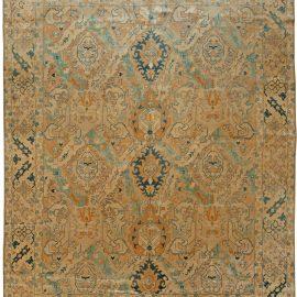 Antique Persian Tabriz Light Blue and Sand Wool Carpet BB5649