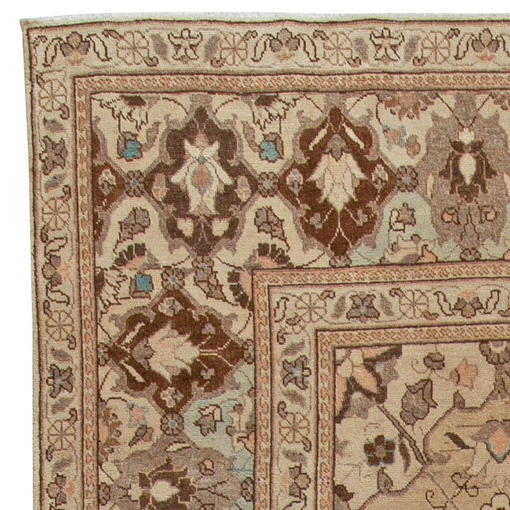 Vintage Persian Tabriz Blue and Light Brown Handwoven Wool Carpet BB5720