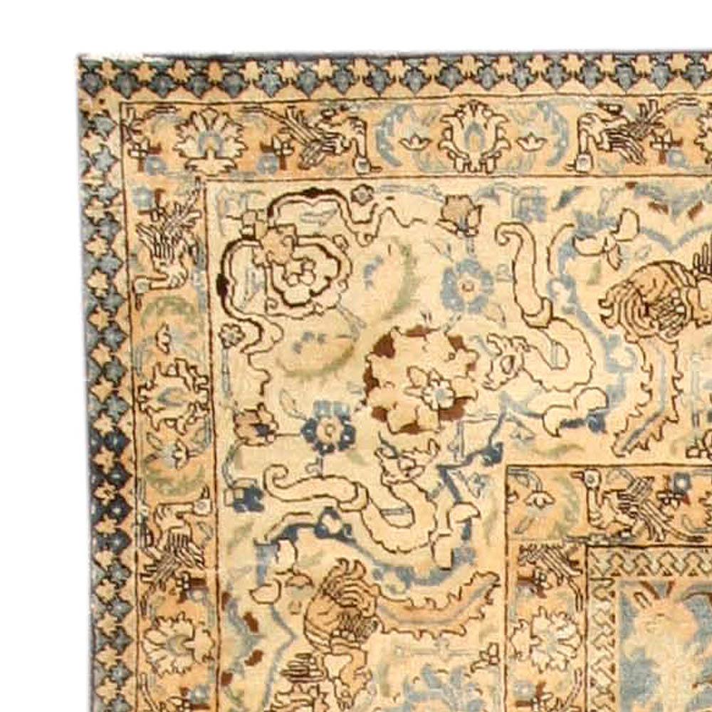 Antique Persian Tabriz Botanic Blue and Camel Handwoven Wool Rug BB4034