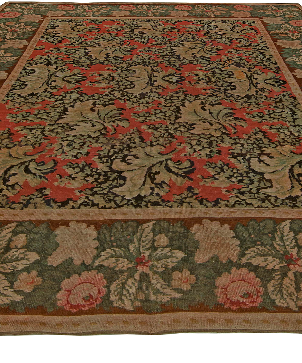 Bessarabian Brick Red, Forest Green, Pale Moss and Pink Wool Rug BB6135