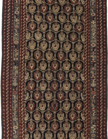 Vintage Karabagh Salmon & Dark Brown Handwoven Wool Rug BB7459