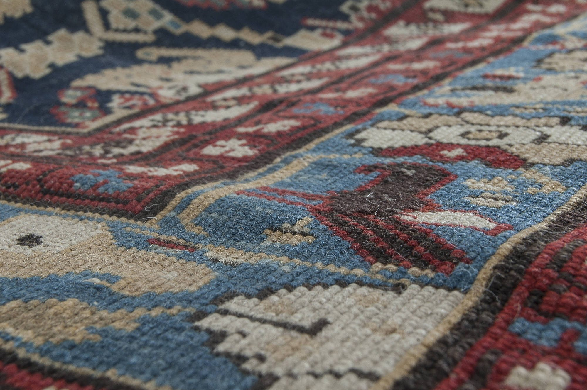 19th Century Caucasian Red, Gold and Blue Handwoven Wool Rug BB3518
