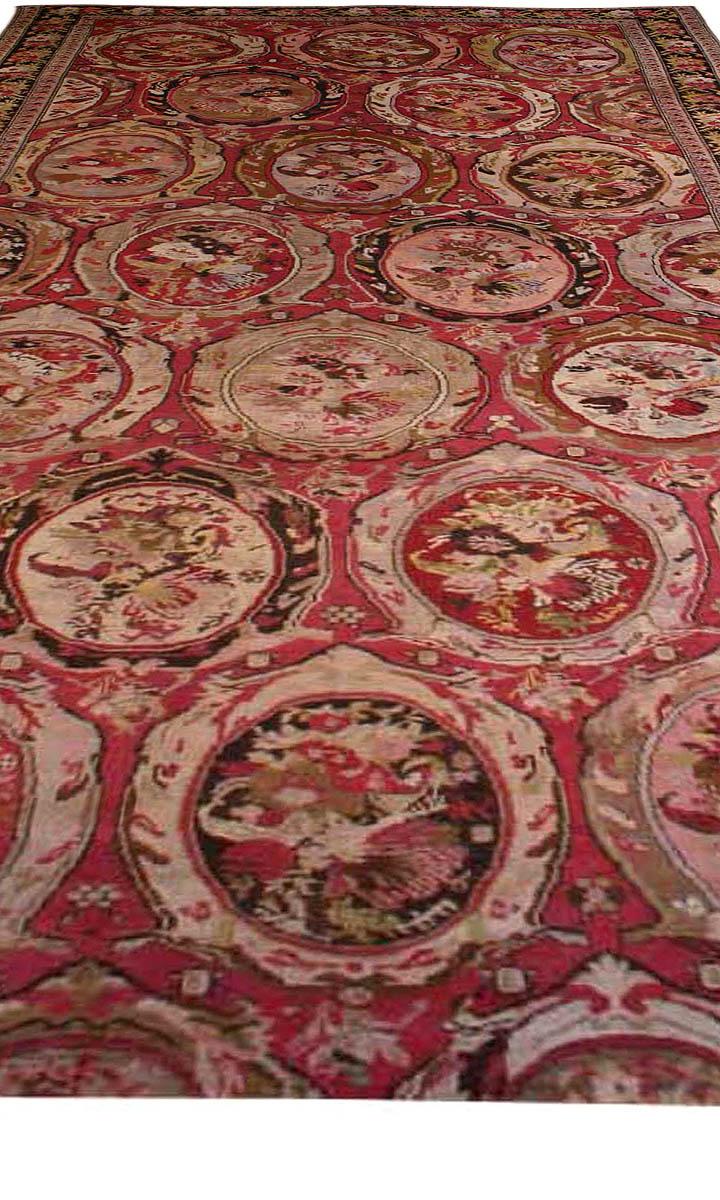 1900s Caucasian Karabagh Botanic Rose Red Handmade Wool Carpet BB3669