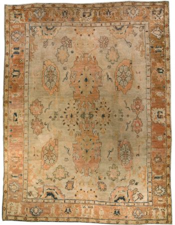 Antique Turkish Oushak Beige & Brown Wool Rug BB4999