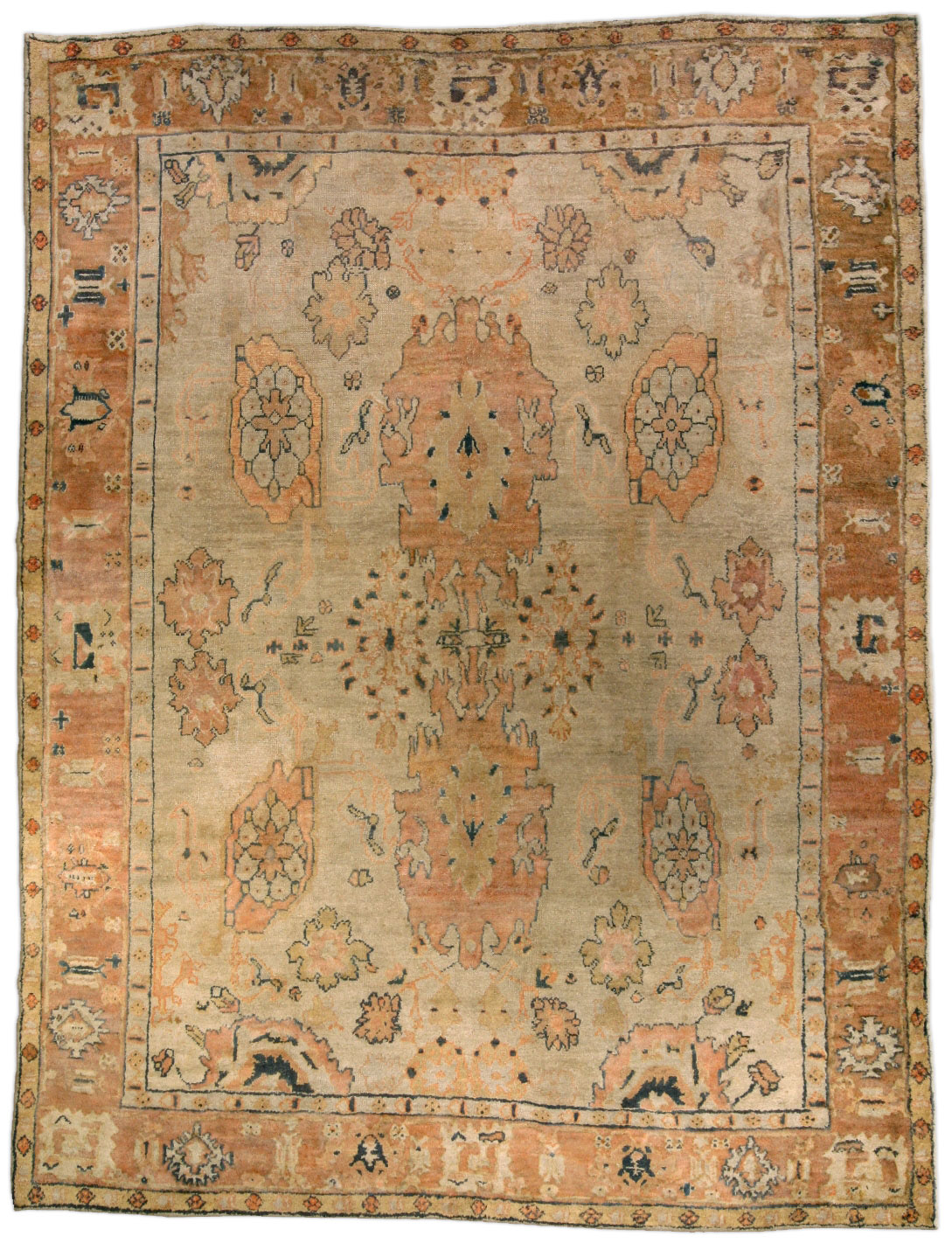 Vintage Turkish Oushak Rug Bb4603 By Dlb