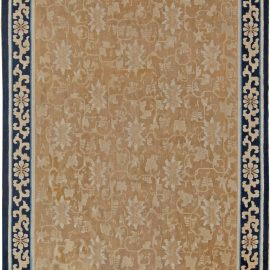 Mid-19th Century Chinese Beige and Dark Blue Handwoven Wool Rug BB5744