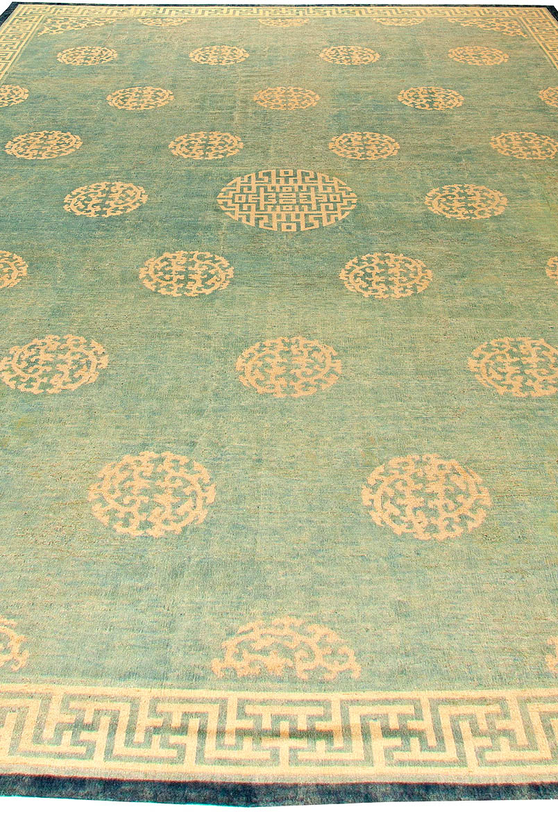 Large Chinese Blue and Beige Handwoven Wool Rug (Size Adjusted) BB5887