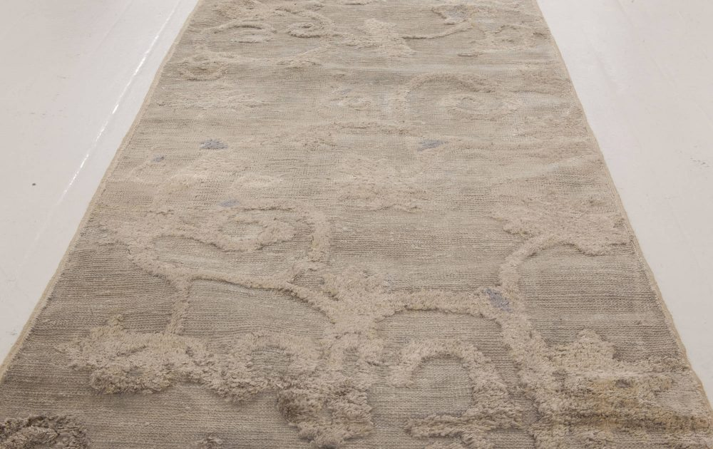 Antique Chinese Silver & Beige Hand Knotted Silk Runner (Fragment) BB6504