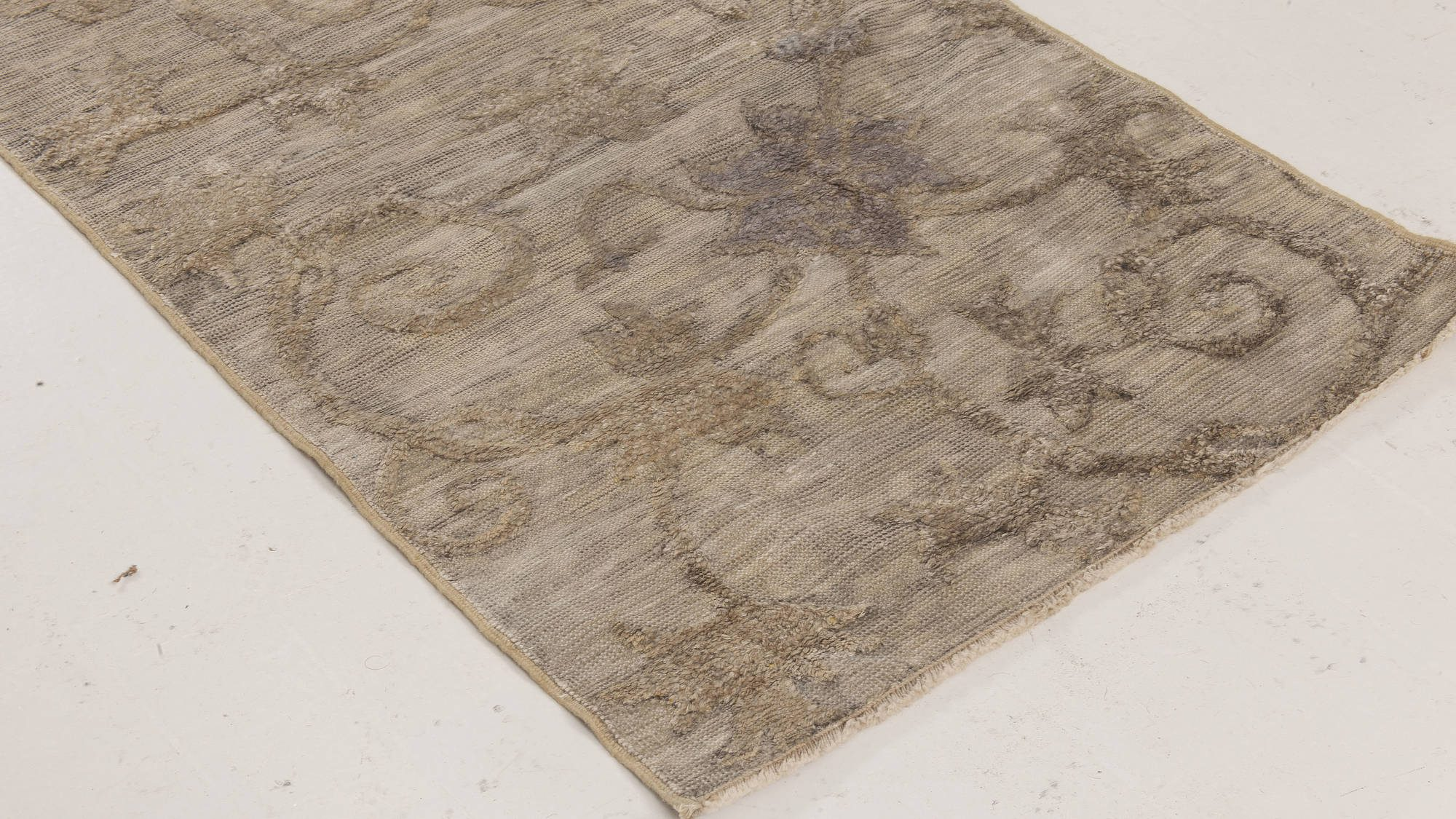 Chinese Silver, Gray & Beige Hand Knotted Silk Runner (Fragment) BB6505