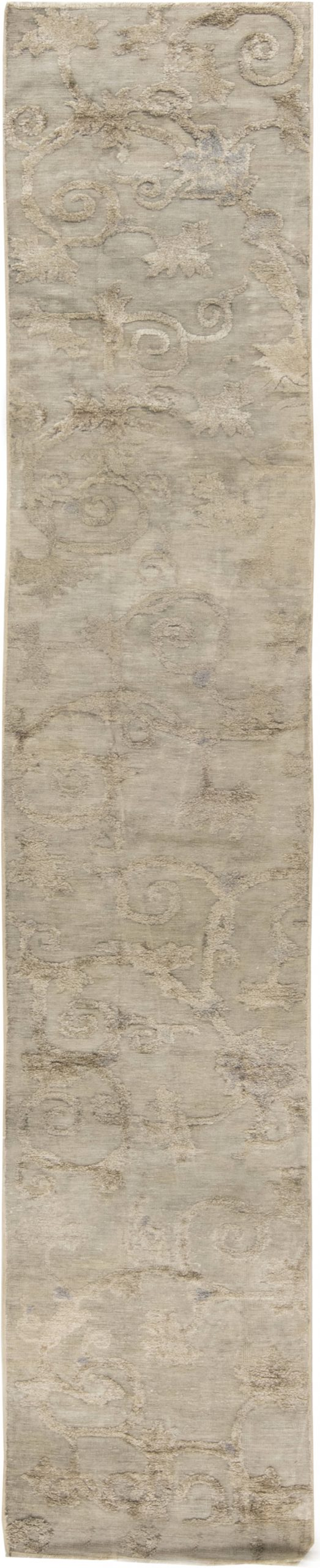 Antique Chinese Silver Beige and Blue Silk Runner Fragment BB6582