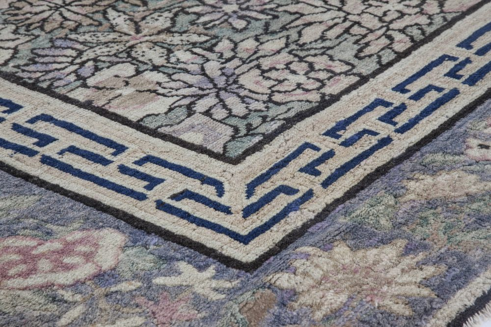 19th Century Chinese Light Blue and Purple Handwoven Wool Carpet BB2845