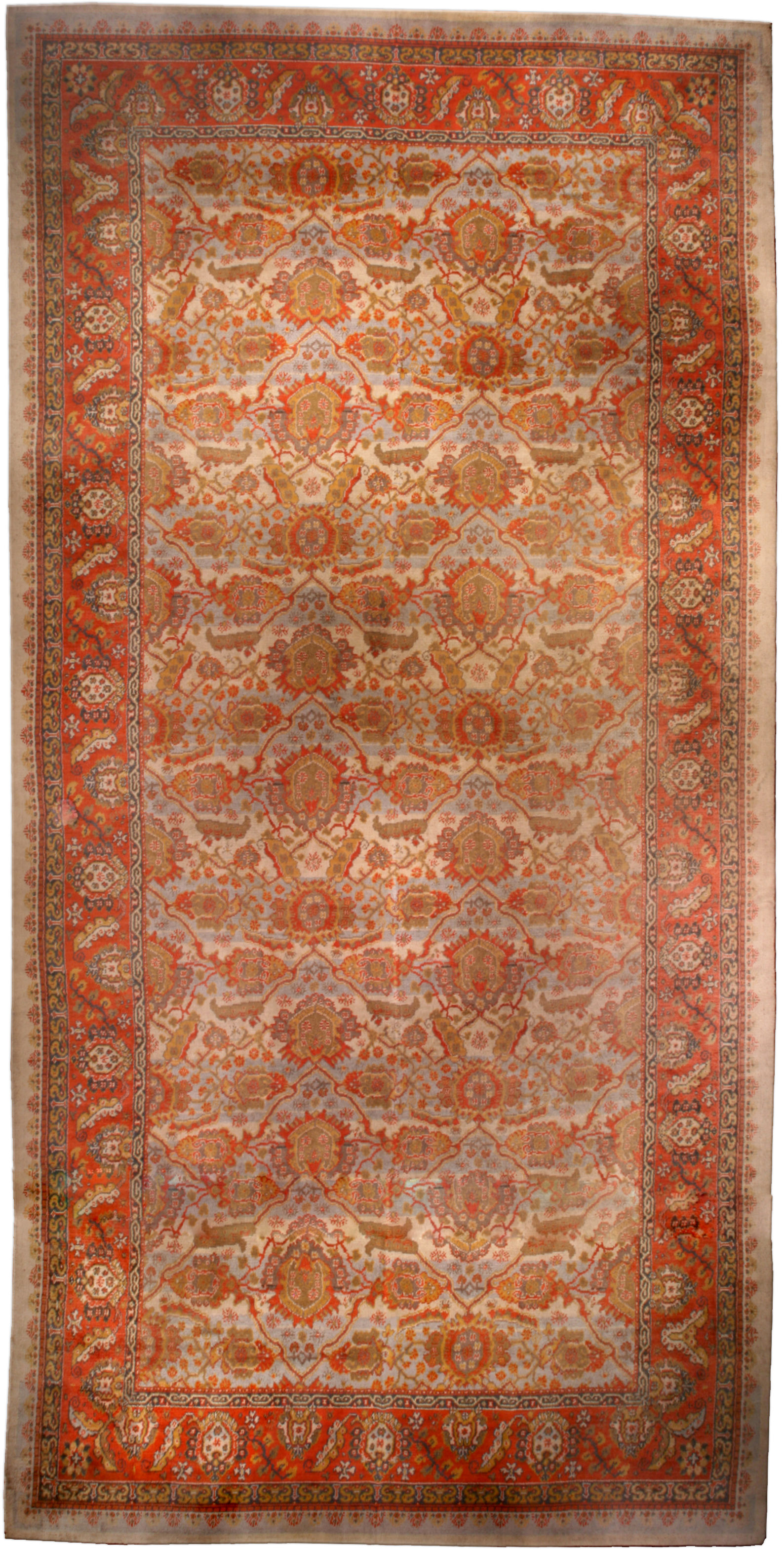 Antique English Axminster Carpet Bb1162 By Dlb