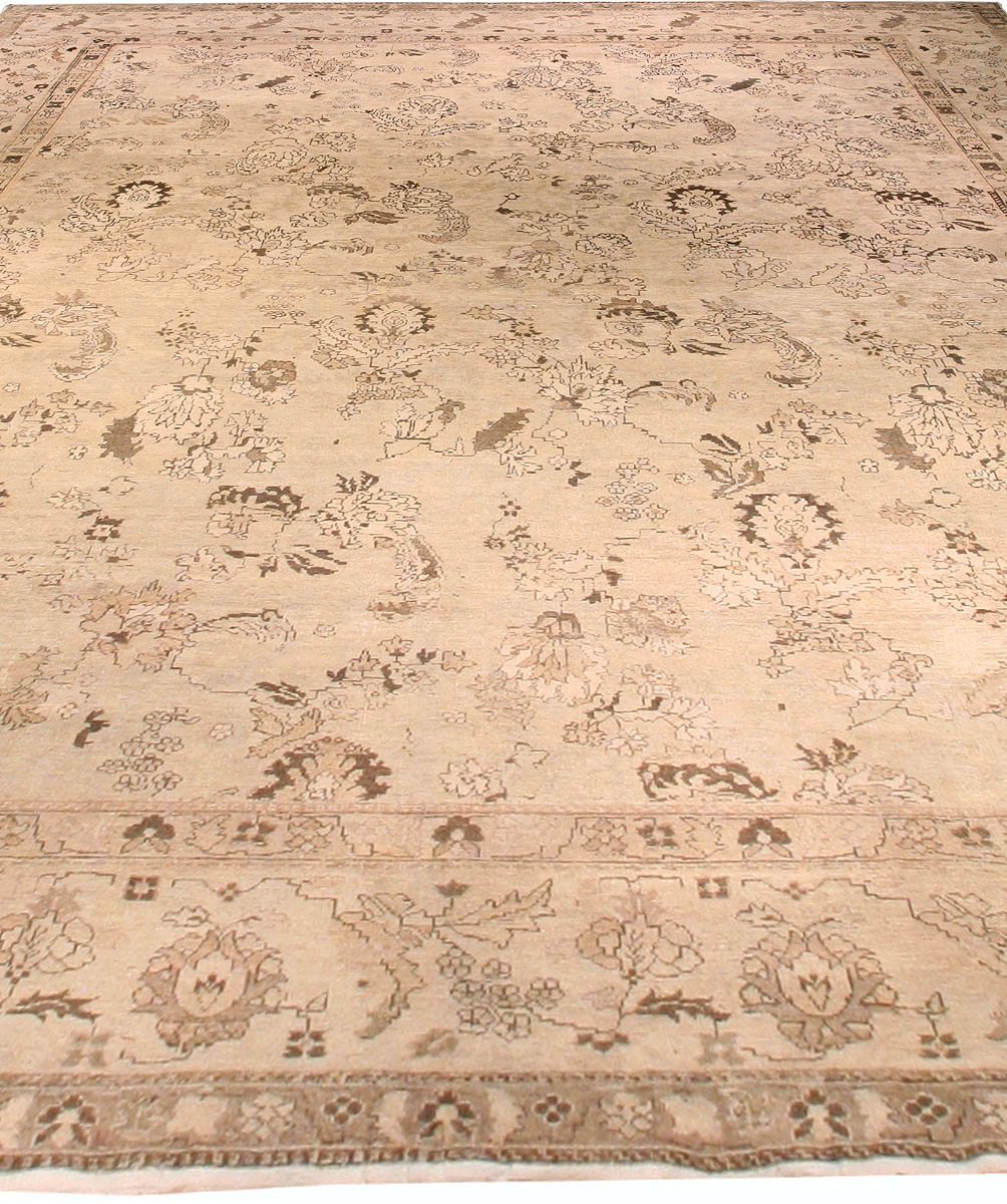Antique Indian Amritsar Beige and Earthy Brown Handwoven Wool Rug BB4589