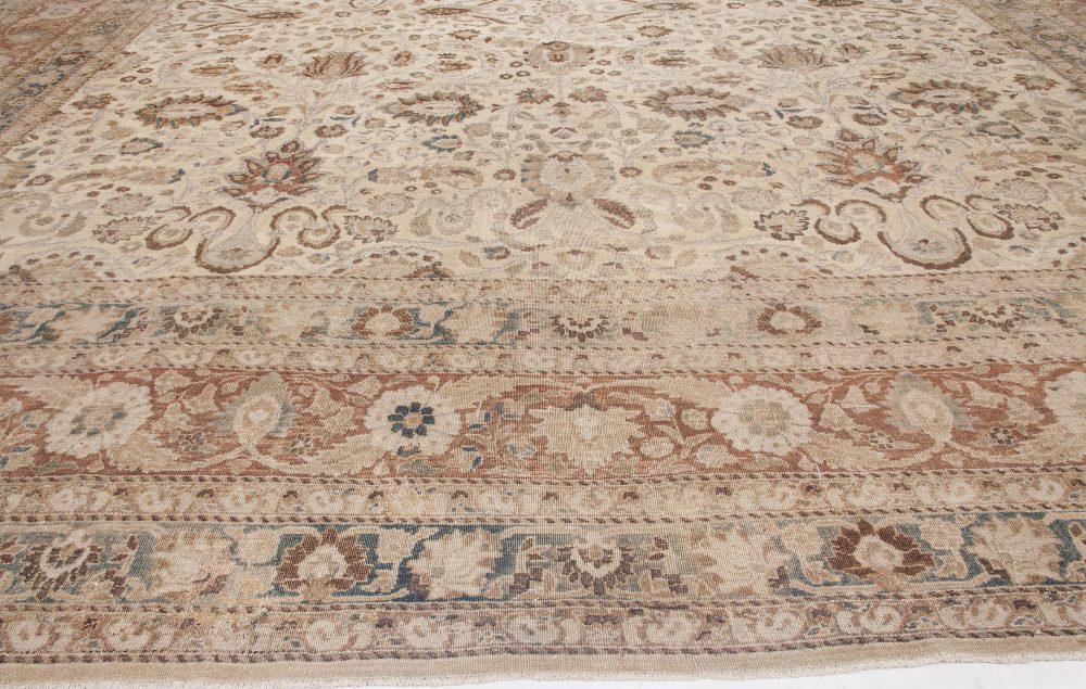 Persian Khorassan Gray, Beige, Indigo, Rust and Warm Brown Wool Rug BB6478