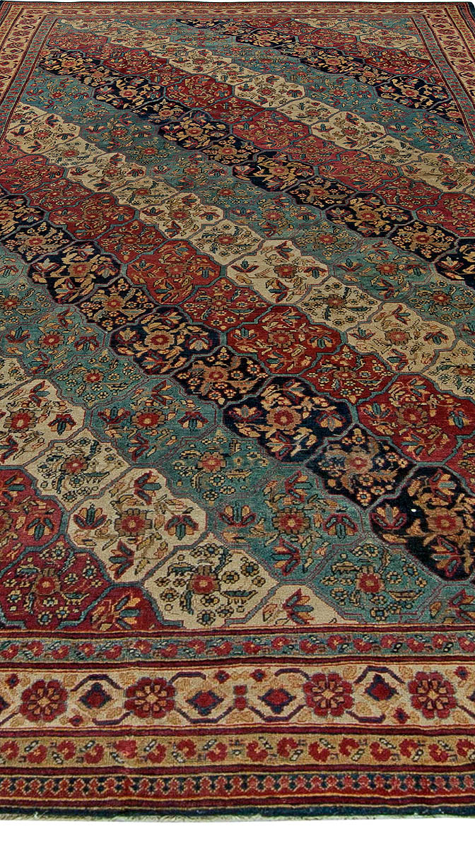 19th Century Kirman Bold Red, Dark and Light Blue Handwoven Wool Rug BB5719