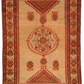 19th Century Sarouk Handmade Wool Rug in Beige, Orange and Red BB4198