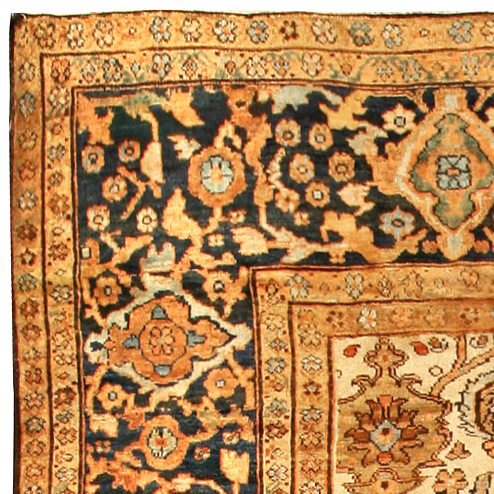 Persian Sultanabad Light Blue, Salmon & Beige Hand Knotted Wool Rug BB1353