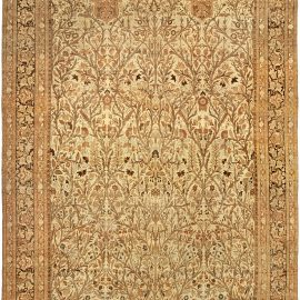 19th Century Persian Tabriz Beige and Brown Handwoven Wool Rug BB4818