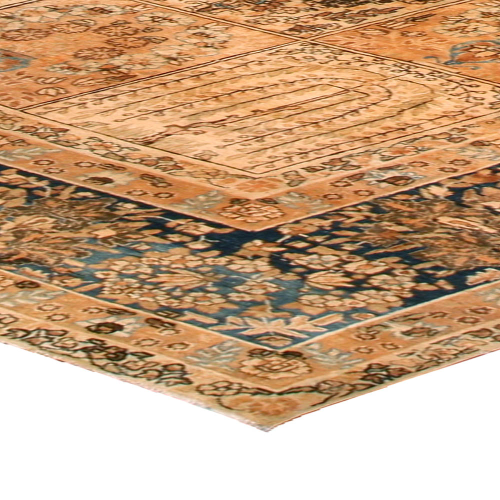 Persian Tabriz Light Blue, Ivory and Beige Handwoven Wool Rug BB1625