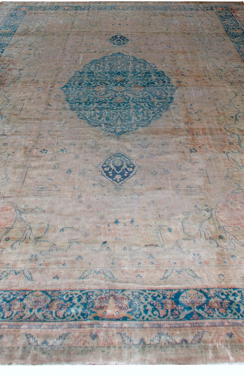 Vintage Turkish Borlou Blue and Beige Hand Knotted Wool Rug BB6186