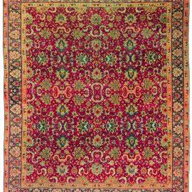 Antique Turkish Hereke Purple and Green Handwoven Wool Rug BB3567