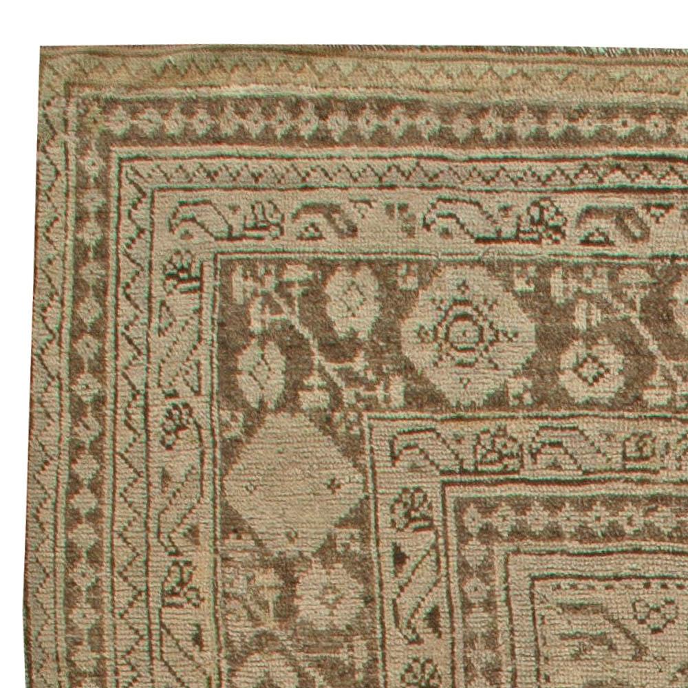 Antique Turkish Oushak Cool Brown Handwoven Wool Rug BB5995