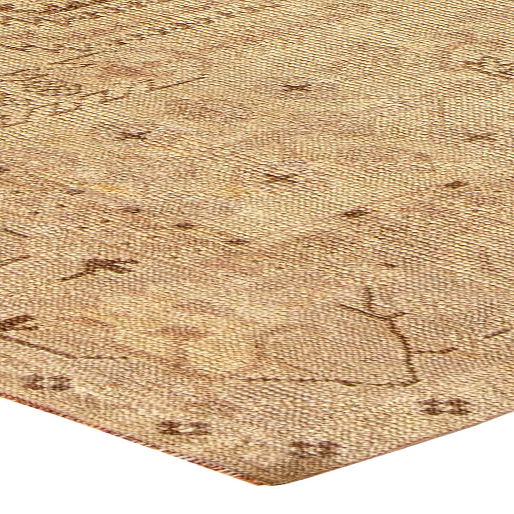Antique Turkish Oushak Beige Hand Knotted Wool Rug BB5743