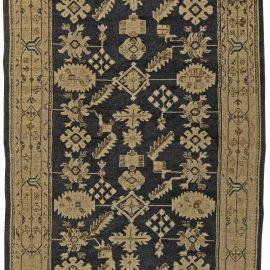 Oushak Light Beige and Midnight Blue Handwoven Wool Rug BB5859