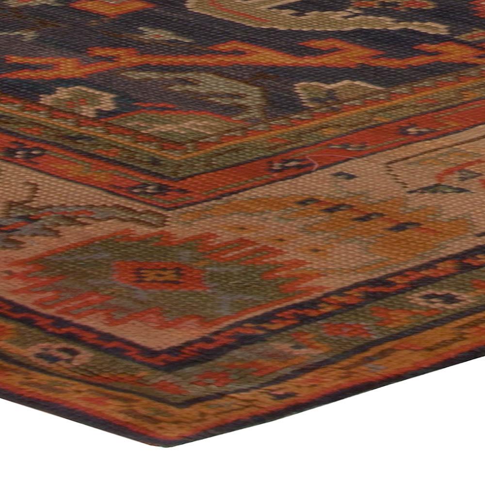 Antique Turkish Oushak Coral, Orange and Dark Blue Handwoven Wool Rug BB5083