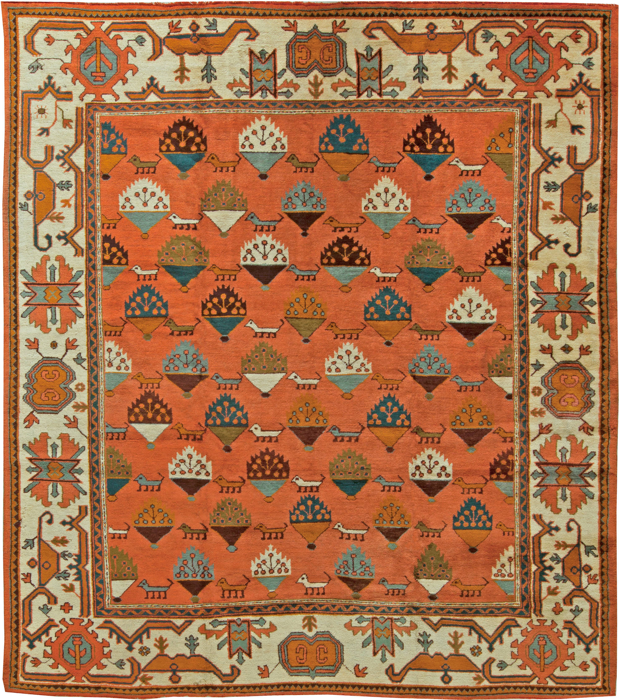 Antique Turkish Oushak Rug Bb6092 By Dlb