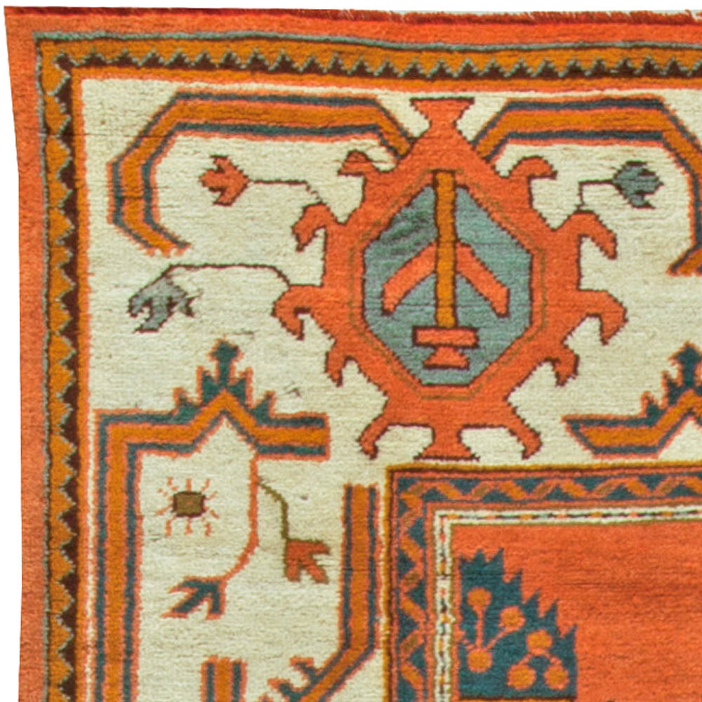Turkish Oushak Brown, Blue, White & Hunter Green, Dark Coral Wool Rug BB6092