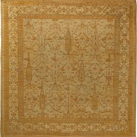 Antique Turkish Oushak Beige Handwoven Wool Rug BB6161