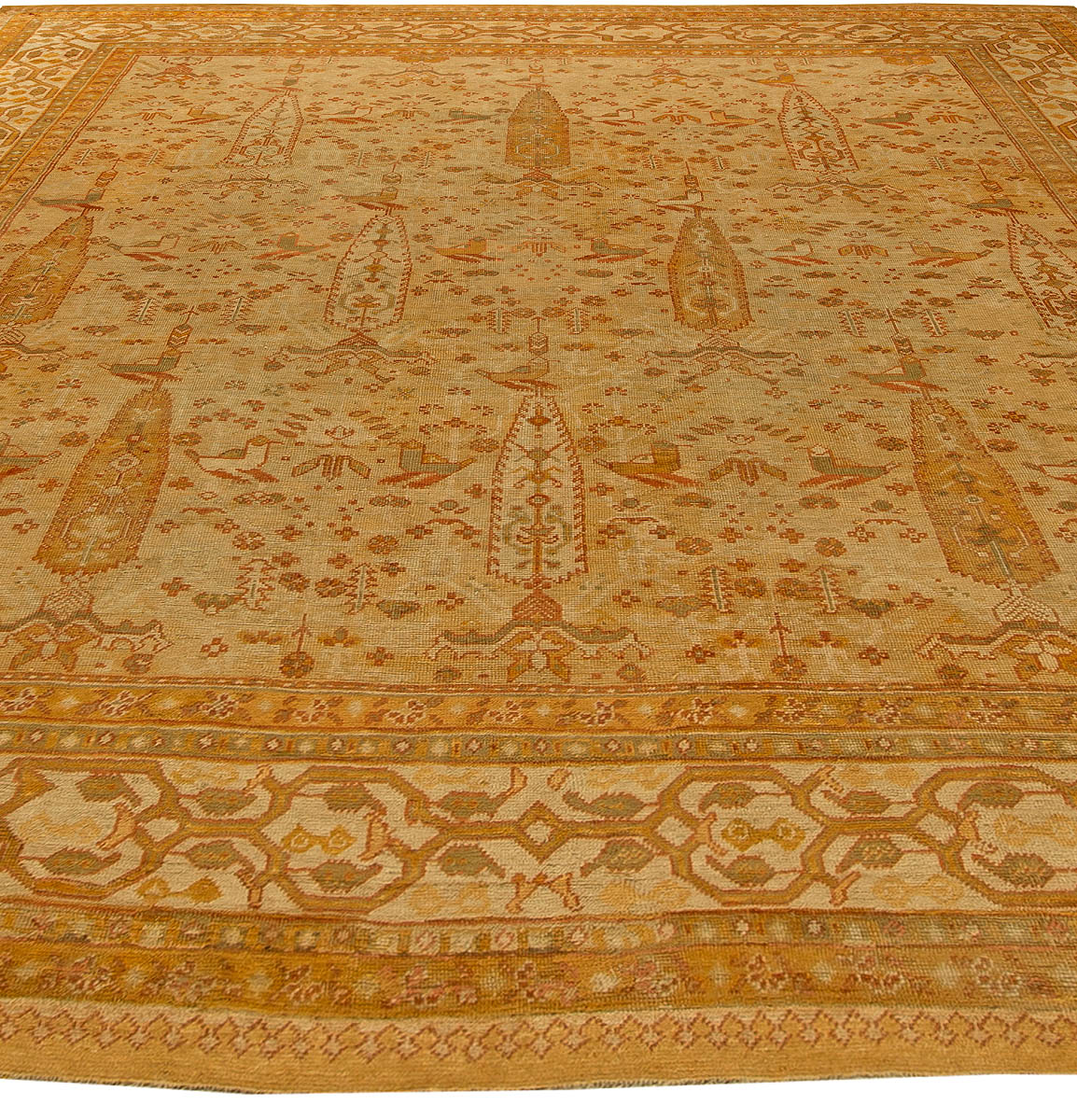Antique Turkish Oushak Beige Handwoven Wool Rug BB6161