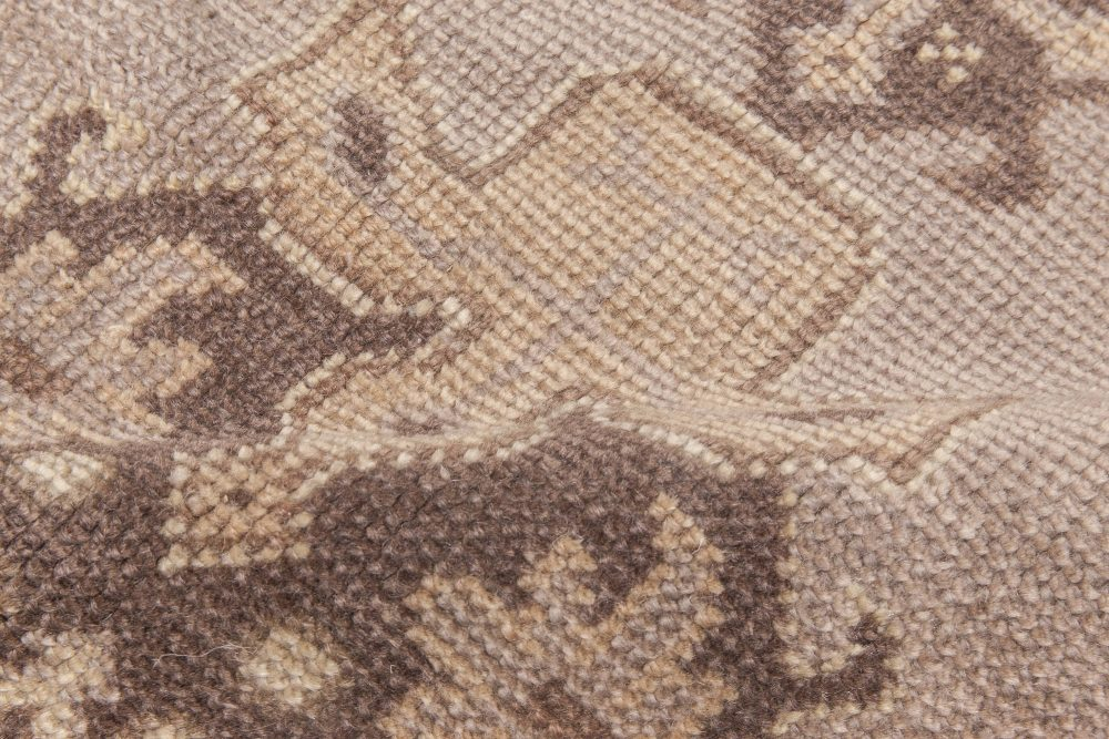 Turkish Oushak Brown and Beige Hand Knotted Wool Rug BB5861