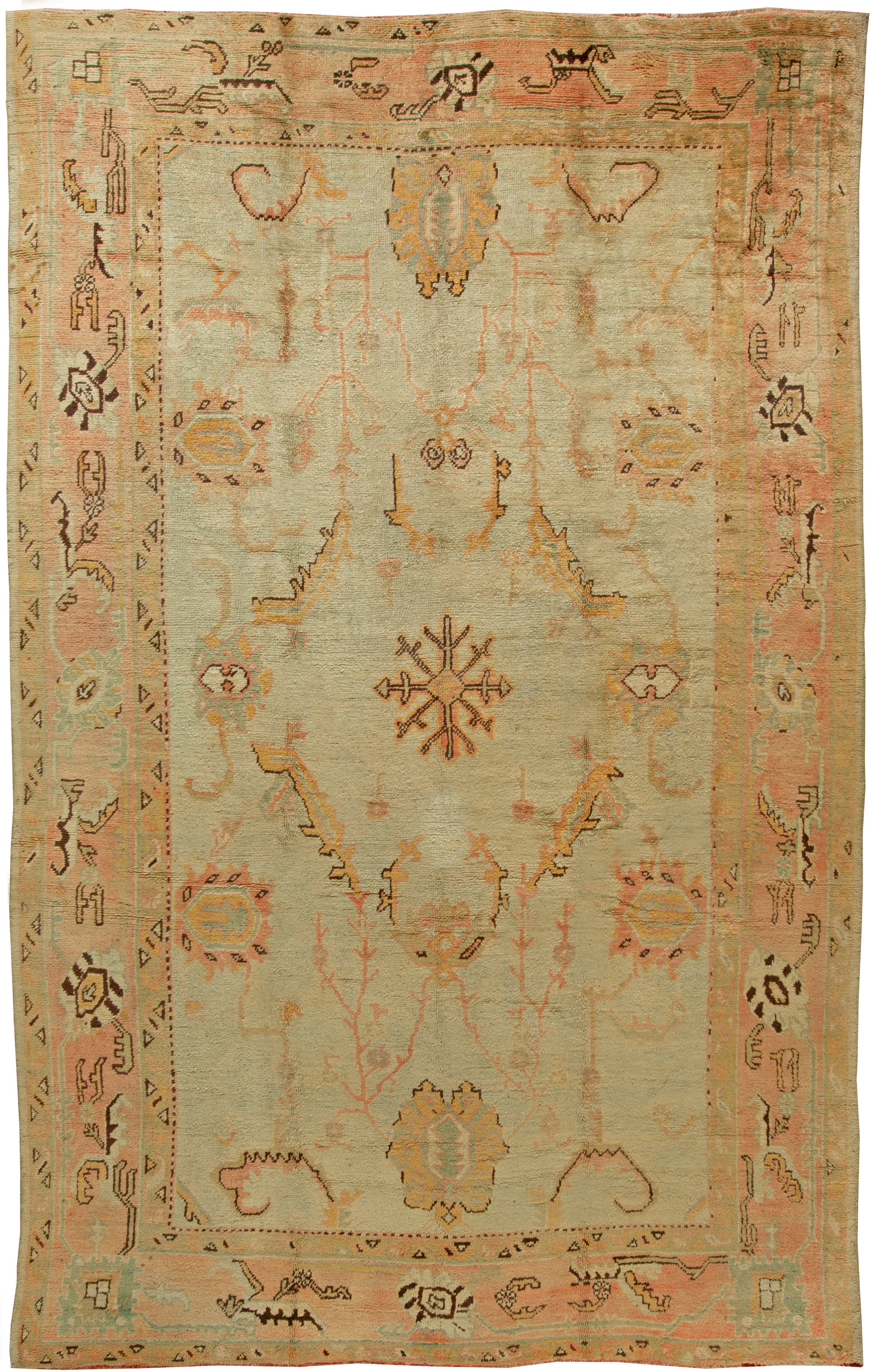 Turkish Oushak Vintage Brown Beige And