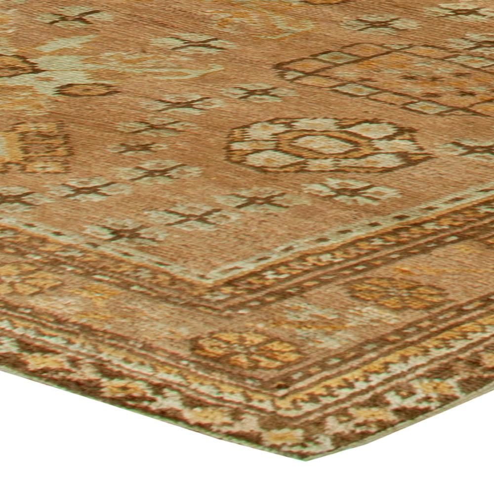 Antique Turkish Oushak Brown, Beige & Gray Handwoven Wool Rug BB6084