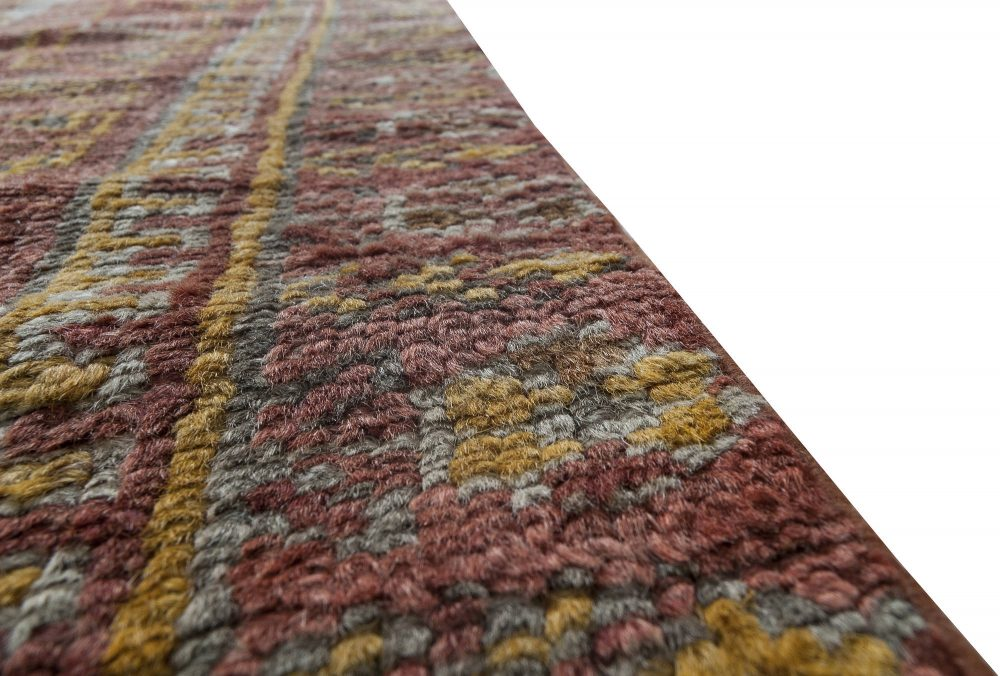 Midcentury Oushak Dark Red and Yellow Handwoven Wool Rug BB6332