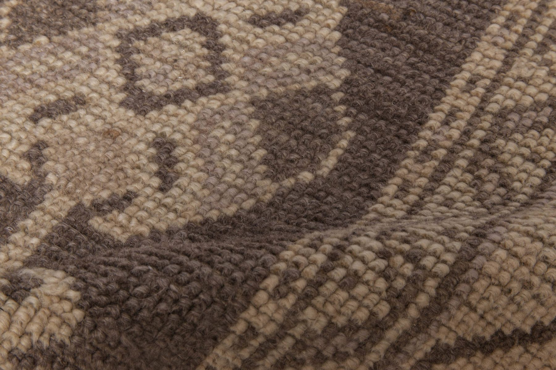 Vintage Turkish Oushak Cool Brown and Light Beige Wool Rug BB6053