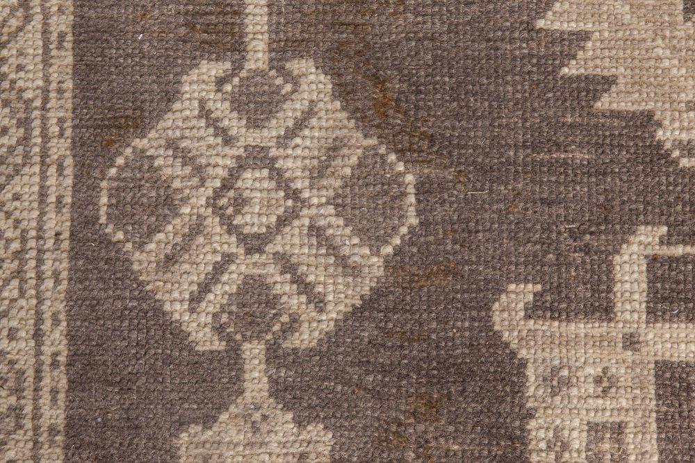 Vintage Turkish Oushak Cool Brown and Light Beige Wool Rug BB6053