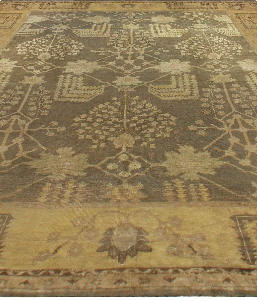 Dusty Shades of Yellow, Beige, Brown and Taupe Turkish Oushak Wool Rug BB5361