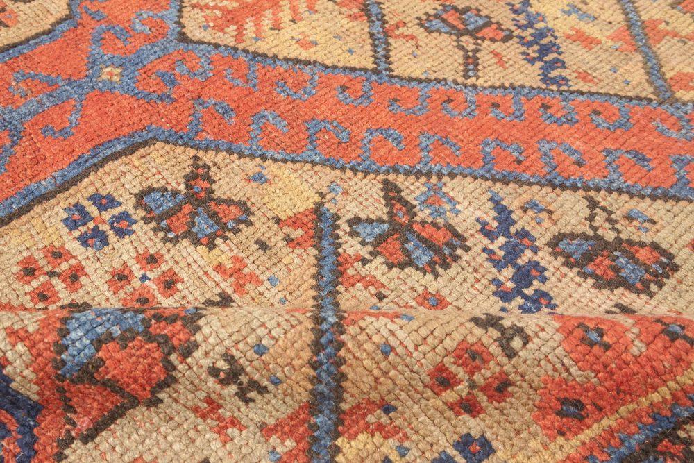 19th Century Crab Red, Orange, Beige and Blue Handwoven Wool Carpet BB4185