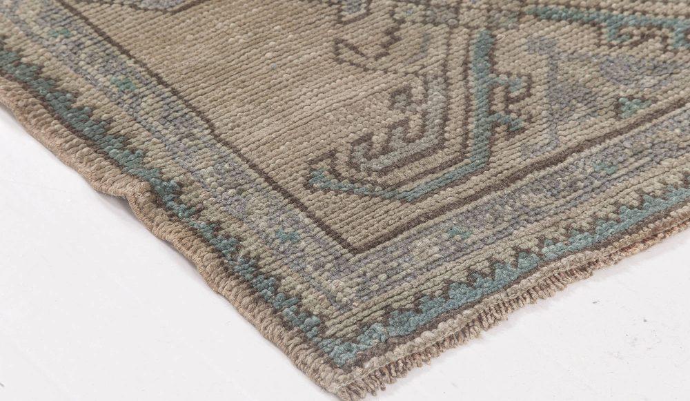 Antique Oushak Aquamarine Handwoven Wool Runner BB6492